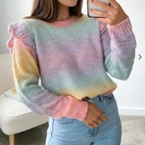 Multi colour knitted frill shoulder Sweater